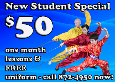New Karate Student Special: $50 for the first month of lessons, plus a free martial arts uniform!